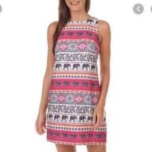 Eliza J Elephant Pink Blue Shift Dress 8